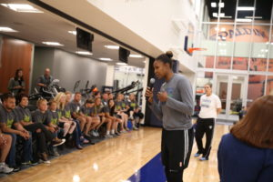MINNEAPOLIS, MN - JULY 19:  The Minnesota Lynx  along with Disabled American Veterans of Minnesota will be showing their military appreciation by hosting 50 women veterans and their families for an open practice, including a Q&A Session with Head Coach Cheryl Reeve and Lynx Forward, Rebekkah Brunson as well as take a group photo with the entire Lynx team and watch a portion of the teamÕs practice on July 19, 2016 at the Minnesota Timberwolves and Lynx Courts at Mayo Clinic Square in Minneapolis, Minnesota.  NOTE TO USER:  User expressly acknowledges and agrees that, by downloading and or using this Photograph, user is consenting to the terms and conditions of the Getty Images License Agreement. Mandatory Copyright Notice: Copyright 2016 NBAE (Photo by David Sherman/NBAE via Getty Images)